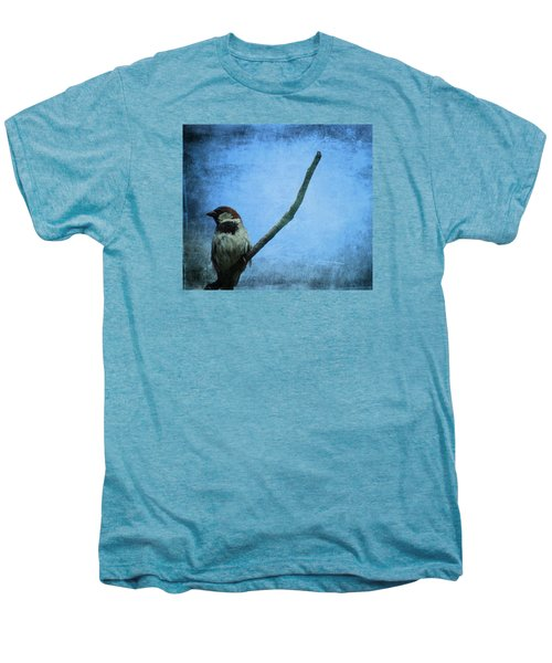Sparrow On Blue Men's Premium T-Shirt by Dan Sproul