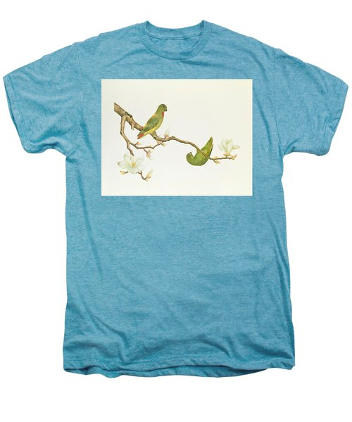 Blue Crowned Parakeet Hannging On A Magnolia Branch Men's Premium T-Shirt by Chinese School