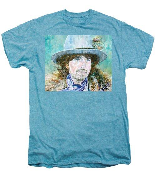 Bob Dylan Oil Portrait Men's Premium T-Shirt by Fabrizio Cassetta