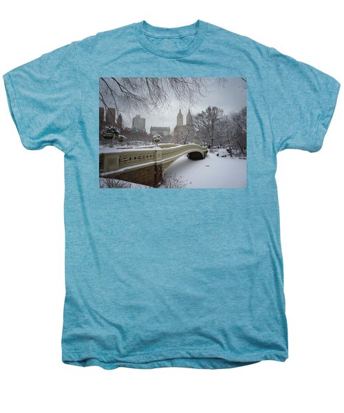 Bow Bridge Central Park In Winter  Men's Premium T-Shirt by Vivienne Gucwa
