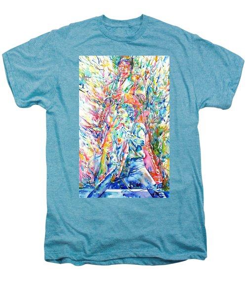 Bruce Springsteen And Clarence Clemons Watercolor Portrait Men's Premium T-Shirt by Fabrizio Cassetta
