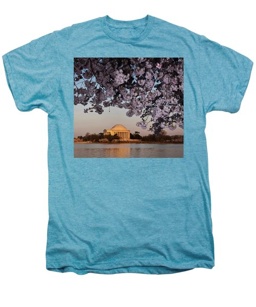 Cherry Blossom Tree With A Memorial Men's Premium T-Shirt by Panoramic Images