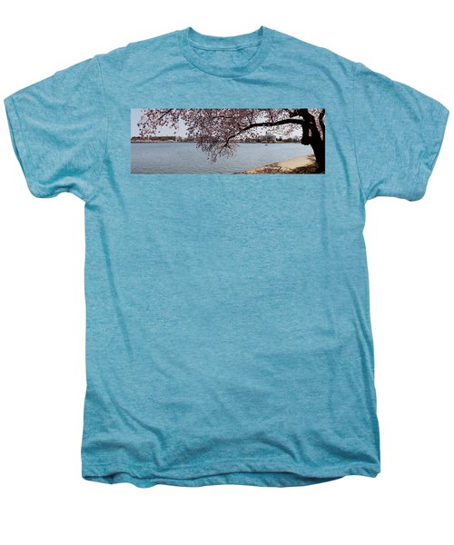 Cherry Blossom Trees With The Jefferson Men's Premium T-Shirt by Panoramic Images