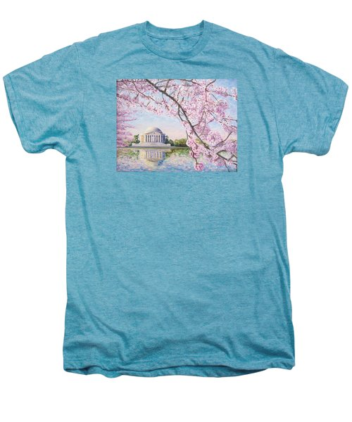 Jefferson Memorial Cherry Blossoms Men's Premium T-Shirt by Patty Kay Hall