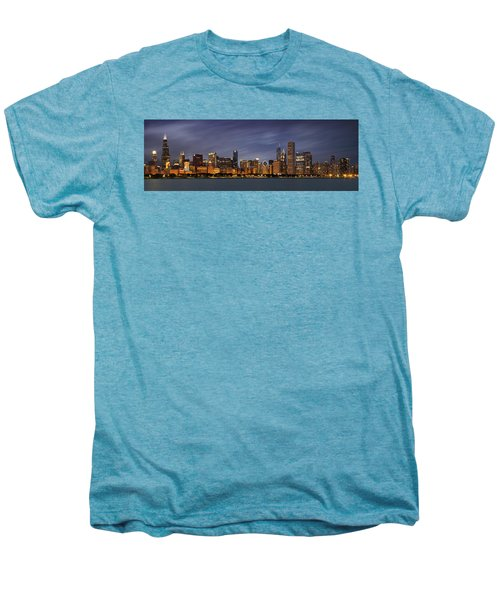 Chicago Skyline At Night Color Panoramic Men's Premium T-Shirt by Adam Romanowicz