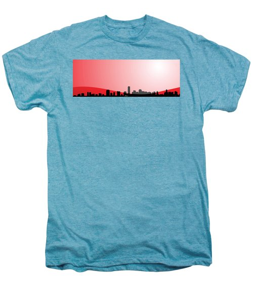Cityscapes - Miami Skyline In Black On Red Men's Premium T-Shirt by Serge Averbukh