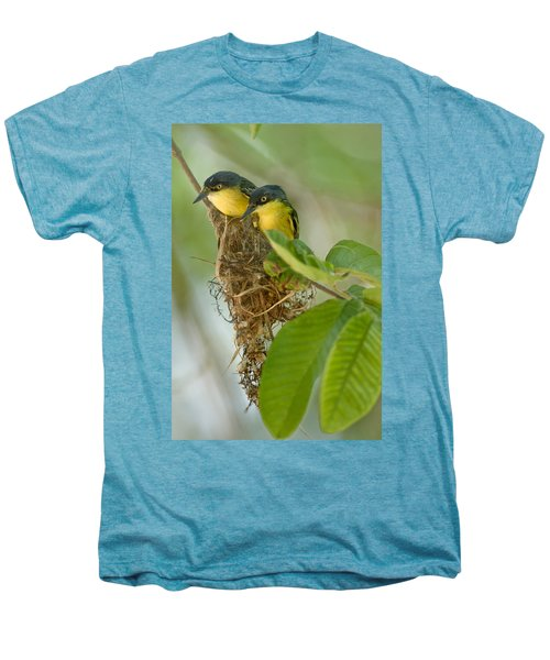 Close-up Of Two Common Tody-flycatchers Men's Premium T-Shirt by Panoramic Images