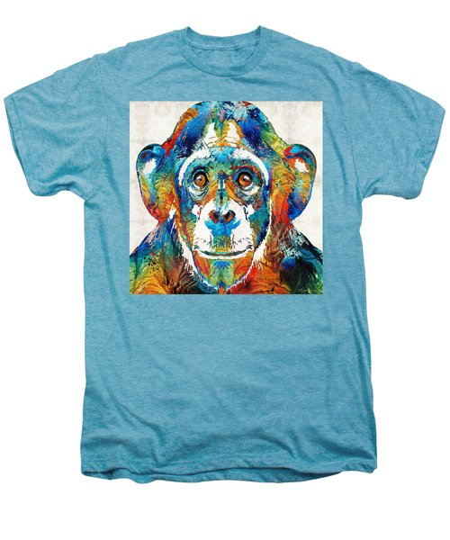 Colorful Chimp Art - Monkey Business - By Sharon Cummings Men's Premium T-Shirt by Sharon Cummings