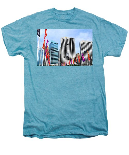 Colorful Flags Lead To City By Kaye Menner Men's Premium T-Shirt by Kaye Menner