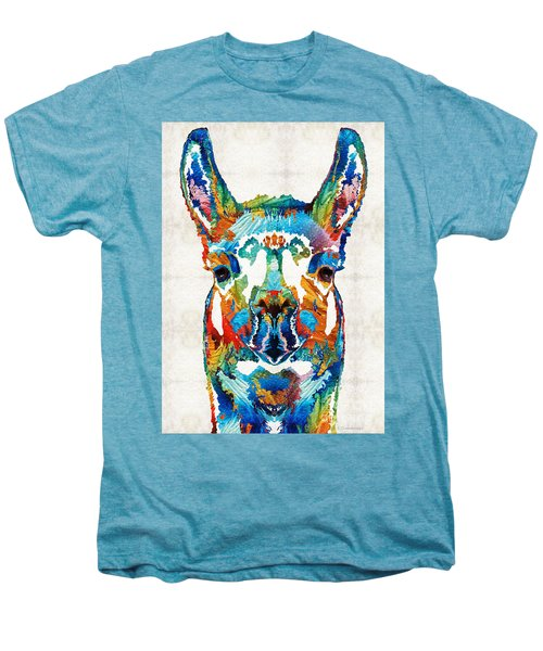 Colorful Llama Art - The Prince - By Sharon Cummings Men's Premium T-Shirt by Sharon Cummings