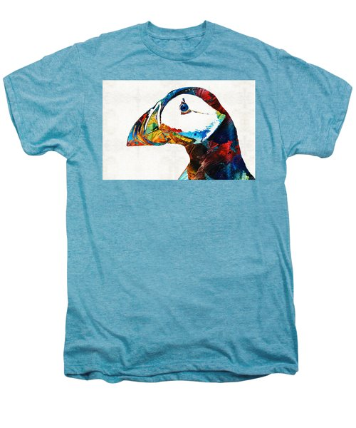 Colorful Puffin Art By Sharon Cummings Men's Premium T-Shirt by Sharon Cummings