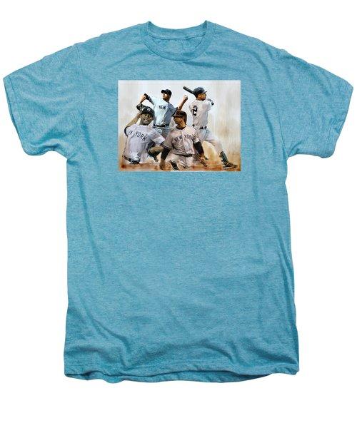 Core  Derek Jeter Mariano Rivera  Andy Pettitte Jorge Posada Men's Premium T-Shirt by Iconic Images Art Gallery David Pucciarelli