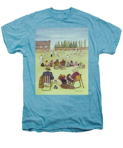 Cricket On The Green, 1987 Watercolour On Paper Men's Premium T-Shirt by Gillian Lawson