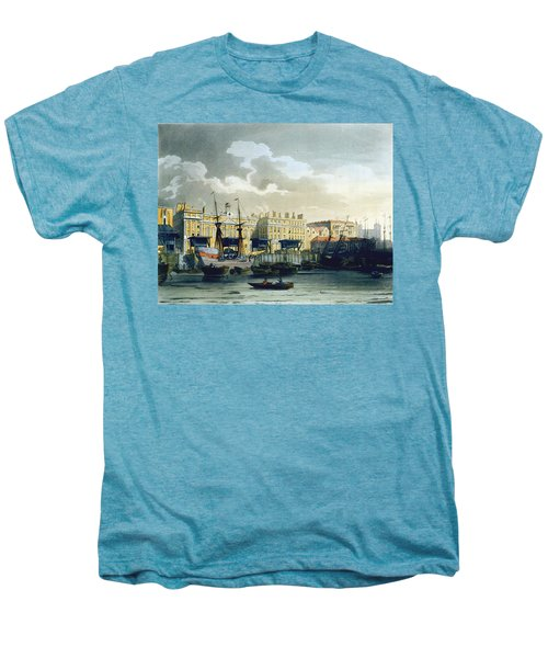 Custom House From The River Thames Men's Premium T-Shirt by T. & Pugin, A.C. Rowlandson