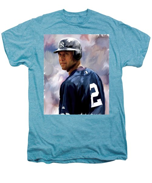 Derek Jeter  Men's Premium T-Shirt by Iconic Images Art Gallery David Pucciarelli