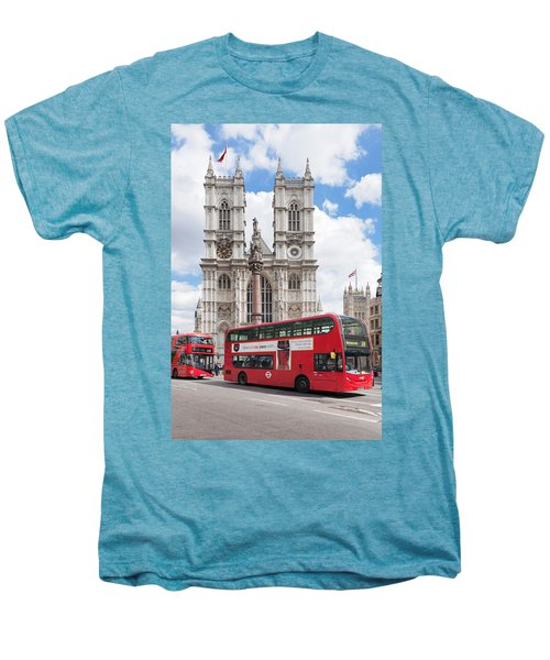 Double-decker Buses Passing Men's Premium T-Shirt by Panoramic Images