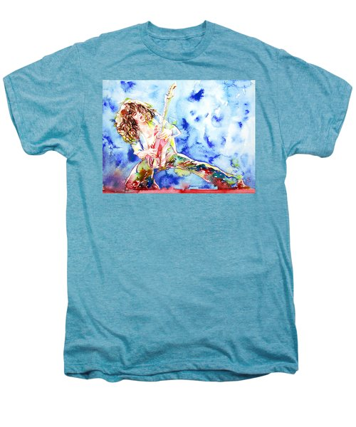 Eddie Van Halen Playing The Guitar.1 Watercolor Portrait Men's Premium T-Shirt by Fabrizio Cassetta