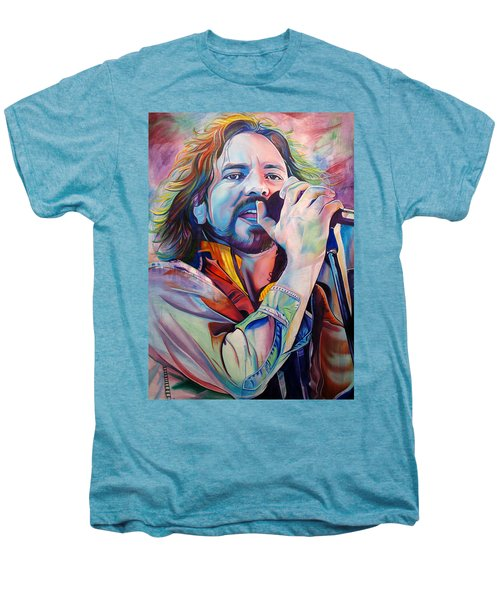 Eddie Vedder In Pink And Blue Men's Premium T-Shirt by Joshua Morton