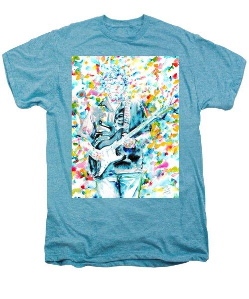 Eric Clapton - Watercolor Portrait Men's Premium T-Shirt by Fabrizio Cassetta