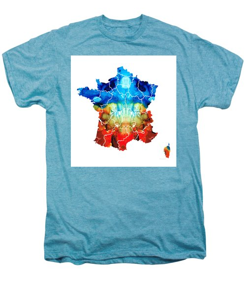 France - European Map By Sharon Cummings Men's Premium T-Shirt by Sharon Cummings