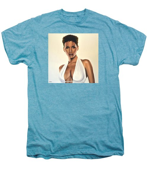 Halle Berry Painting Men's Premium T-Shirt by Paul Meijering