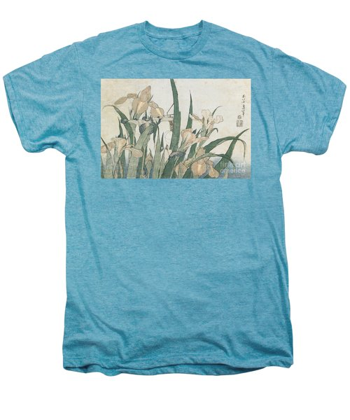 Iris Flowers And Grasshopper Men's Premium T-Shirt by Hokusai