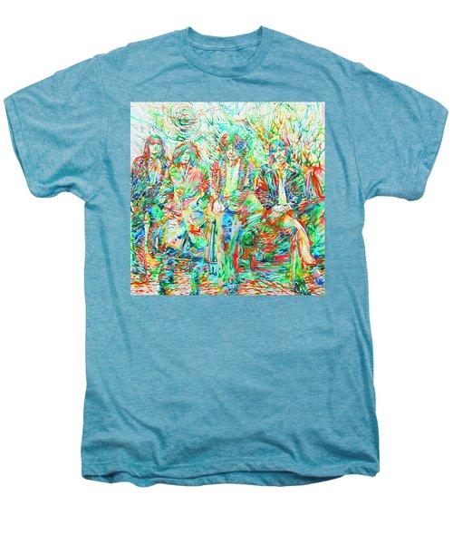 Led Zeppelin - Watercolor Portrait.1 Men's Premium T-Shirt by Fabrizio Cassetta