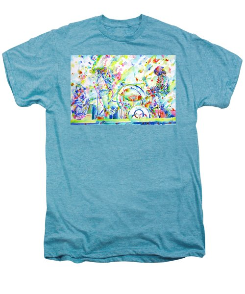Led Zeppelin Live Concert - Watercolor Painting Men's Premium T-Shirt by Fabrizio Cassetta