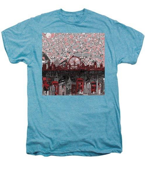 London Skyline Abstract 6 Men's Premium T-Shirt by Bekim Art