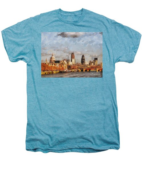 London Skyline From The River  Men's Premium T-Shirt by Pixel Chimp