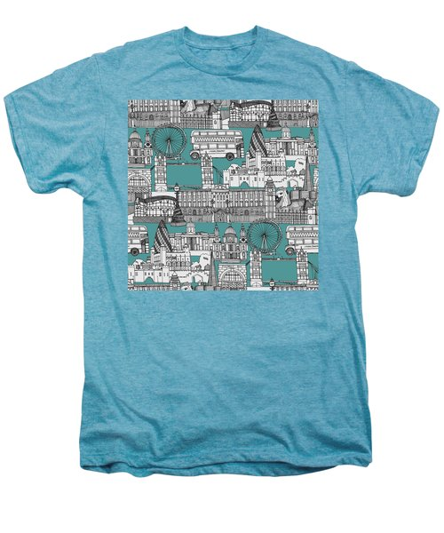 London Toile Blue Men's Premium T-Shirt by Sharon Turner