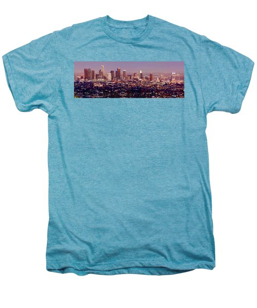 Los Angeles Skyline At Dusk Men's Premium T-Shirt by Jon Holiday