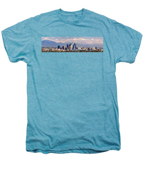 Los Angeles Skyline With Mountains In Background Men's Premium T-Shirt by Jon Holiday