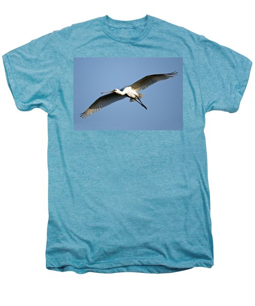 Low Angle View Of A Eurasian Spoonbill Men's Premium T-Shirt by Panoramic Images
