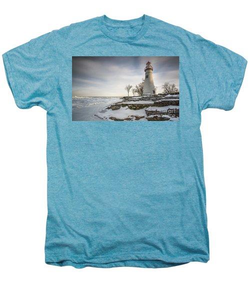 Marblehead Lighthouse Winter Men's Premium T-Shirt by James Dean