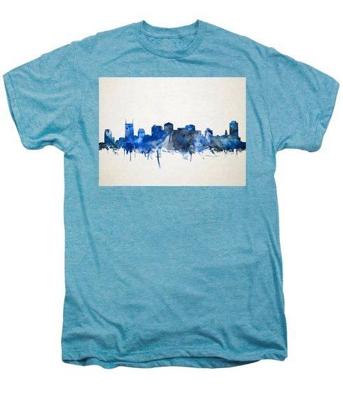 Nashville Skyline Watercolor 11 Men's Premium T-Shirt by Bekim Art