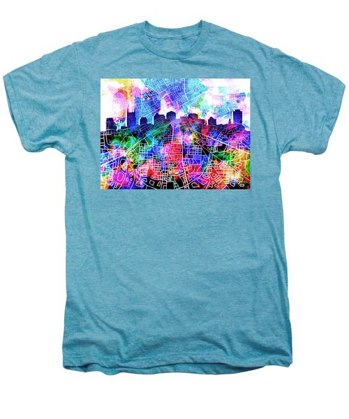 Nashville Skyline Watercolor 5 Men's Premium T-Shirt by Bekim Art