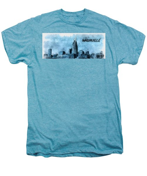 Nashville Tennessee In Blue Men's Premium T-Shirt by Dan Sproul