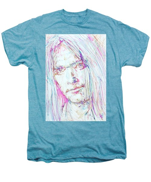 Neil Young - Colored Pens Portrait Men's Premium T-Shirt by Fabrizio Cassetta