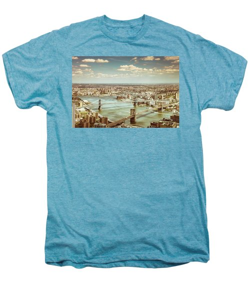 New York City - Brooklyn Bridge And Manhattan Bridge From Above Men's Premium T-Shirt by Vivienne Gucwa