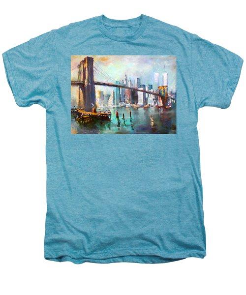 Ny City Brooklyn Bridge II Men's Premium T-Shirt by Ylli Haruni