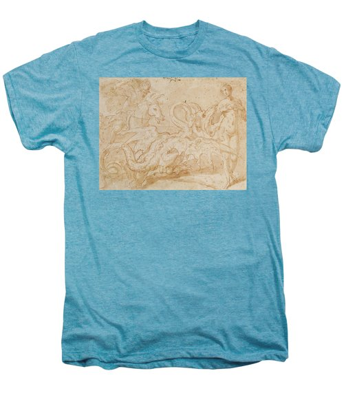 Perseus Rescuing Andromeda Red Chalk On Paper Men's Premium T-Shirt by or Zuccaro, Federico Zuccari
