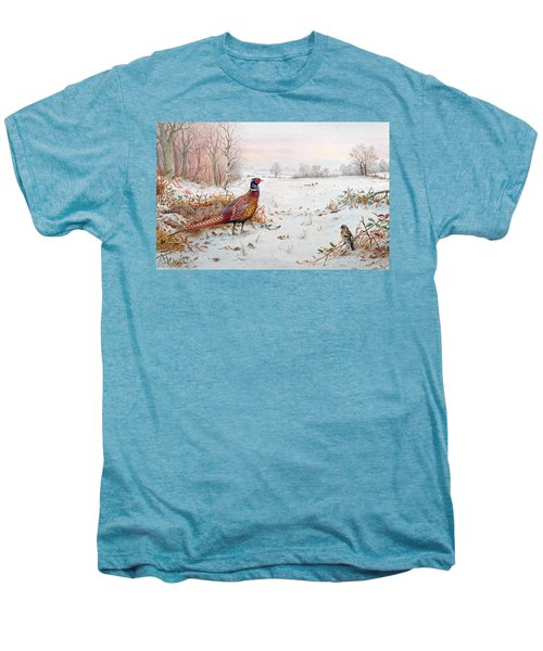 Pheasant And Bramblefinch In The Snow Men's Premium T-Shirt by Carl Donner