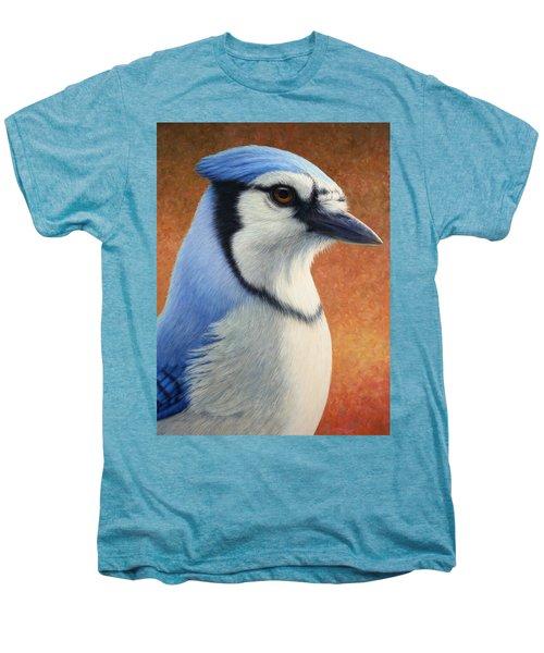 Portrait Of A Bluejay Men's Premium T-Shirt by James W Johnson