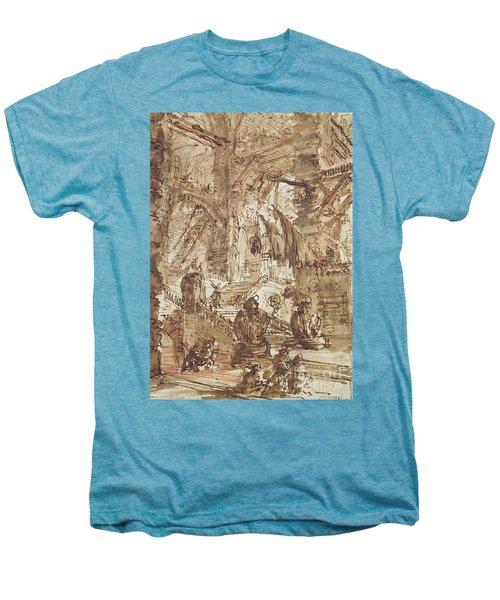 Preparatory Drawing For Plate Number Viii Of The Carceri Al'invenzione Series Men's Premium T-Shirt by Giovanni Battista Piranesi