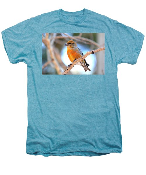 Red Crossbill On Aspen Men's Premium T-Shirt by Marilyn Burton