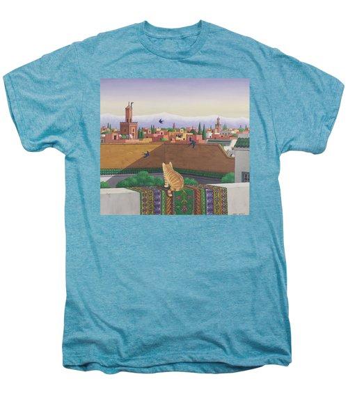 Rooftops In Marrakesh Men's Premium T-Shirt by Larry Smart