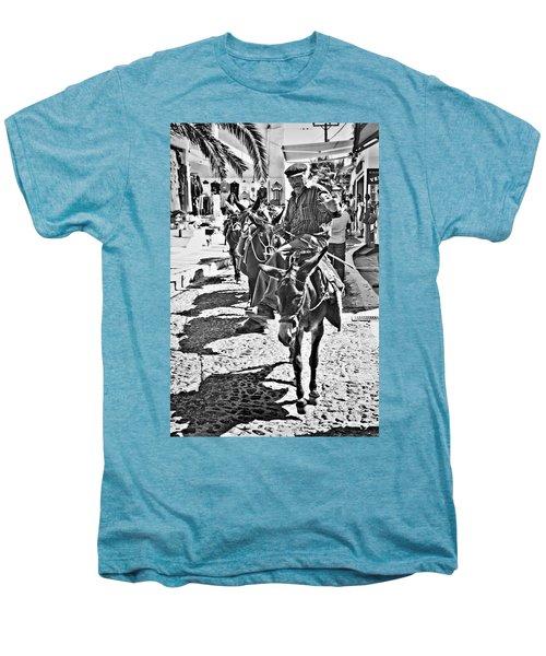 Santorini Donkey Train. Men's Premium T-Shirt by Meirion Matthias