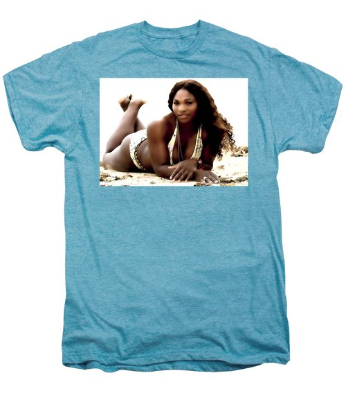 Serena Williams In The Sand Men's Premium T-Shirt by Brian Reaves