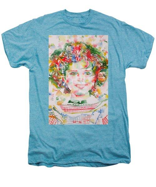 Shirley Temple - Watercolor Portrait.1 Men's Premium T-Shirt by Fabrizio Cassetta